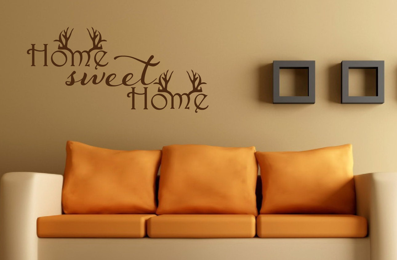 home sweet home wall decal antler decor hunting decal home. Black Bedroom Furniture Sets. Home Design Ideas