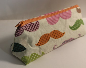 Mustache Print Makeup Case / Pencil Bag - Orange Zipper