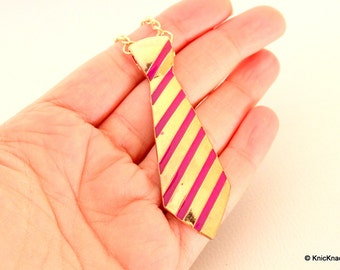 Gold and Pink Tie Pendant