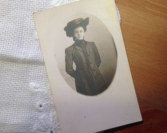 Vintage Real Photograph Postcard, Young Woman with Big Hat, 1910s Paper Ephemera