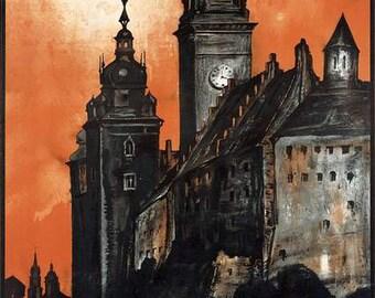 Print:  Krakow (Cracow) Travel Poster -  1900s