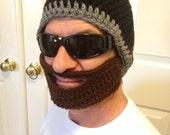 Custom Crochet Beard Hat Beanie, Adult and Children Sizes, All Colors (Detachable Beard)
