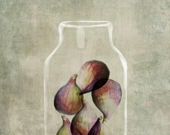 Fig Jam, Earthy Colours, Surreal Kitchen Art, Home Decor Art Print, Surreal Illustration, Soft Purple, Kitchen Art Print