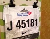 Running Medal holder and Running Race bib Holder - Race Bling Green Chevron