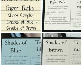 Creative Memories Scrapbooking Paper Packs, Sampler, Shades of Blue, Shades of Brown