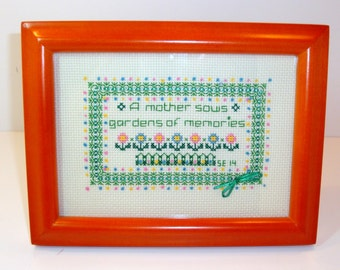 """Cross Stitch """"Mother's Day"""" Embroidery Sampler - Frame Size 5"""" x 7"""" - Saying - """"A Mother Sows Gardens of Memories"""""""