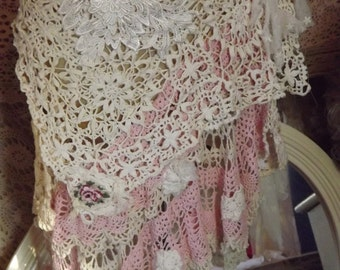 A Walk In The Garden Up-Cycled Rose Crochet and Lace Wrap Skirt Pink and White Mori Girl Shabby Couture Festival Stage Wear Ready to Ship