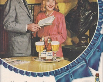 1948 Magazine Ad for Pabst Blue Ribbon Beer featuring Mr. and Mrs. Charles Boyer with Simmons Beautyrest Ad on Back, Vintage Advertising