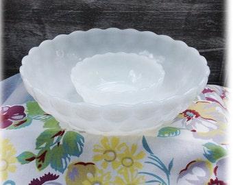 Pair of Milk Glass Bubble Serving Bowls Vintage