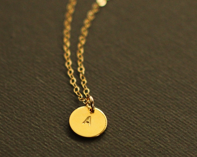 Tiny Gold Initial Necklace - Gold Personalized Initial Necklace - Customized necklace