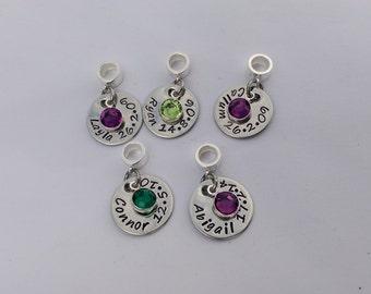 Personalised bracelet charm - name birthdate bracelet charm - personalised gift for her - gift for wife - gift for sister - birthday gift
