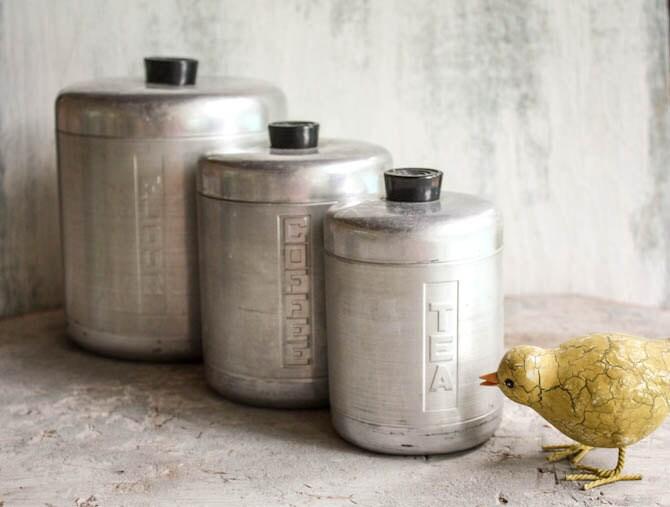 Aluminum Canister Set of Three Vintage Mid Century Modern Tea