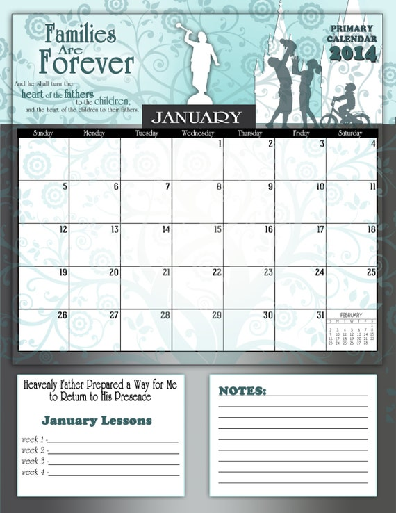 Items similar to printable lds primary 2014 monthly for Forever calendar template