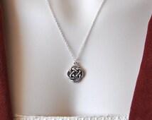 CELTIC KNOT Charm Necklace Celtic Knot Pendant Celtic Pendant Mystic Knot, Pewter, Celtic Symbol of Love, Infinity, Eternity, Silver Chain