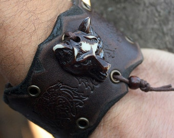 Wolf Head Celtic Knots Amulet Talisman Handmade Genuine Leather Bracelet