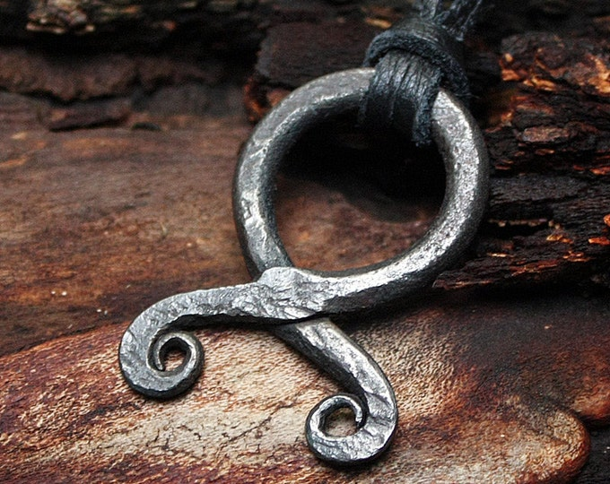 Forged Iron Handmade Troll Cross Vikings Amulet Protection Pendant Necklace