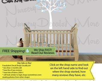 Baby Blue Nursery, Little Boy Nursery Decal, Decals for Baby Boy (Baby Blue Mini Small Tree) MSmTO