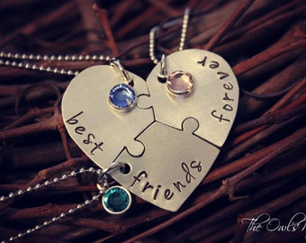 Stamped Best Friends Forever 3 Piece Heart Puzzle Piece Necklace SetThree Best Friends Forever Necklace