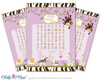 Girl Cocalo Jacana Word Search Game, Word Search game Printable Card for Baby Cocalo Jacana  Shower DIY Purple Jungle - ao22bs26