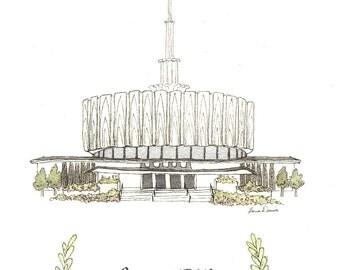 Provo, Utah Temple -  Archival Print by Laura Davies