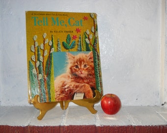 VINTAGE Tell Me, Cat by Ellen Fisher 1965 Large Whitman Chidren's Book