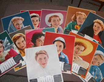 1955 Large Calendar Pages Lithographs by Victor Keppler. All 12 Months of 1955 Calendar Lithographs Glamour Girls or Pin Ups
