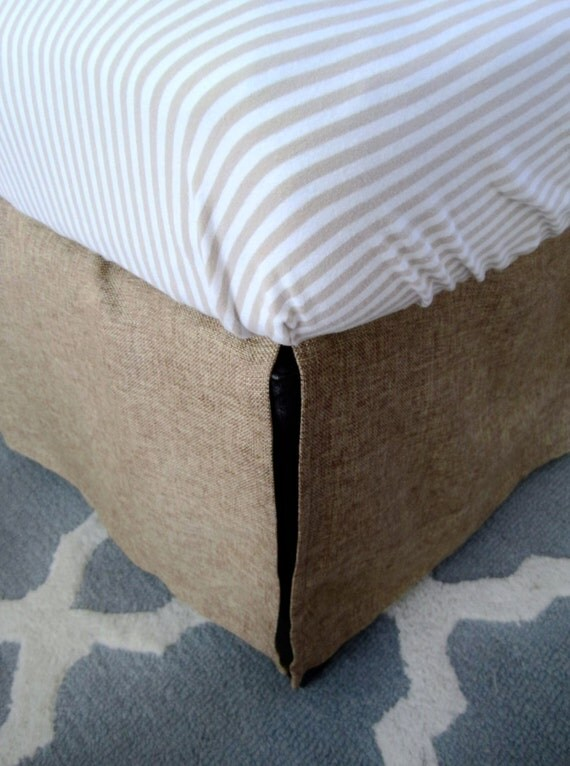 custom burlap cal king bed skirt 72x84 by littlefootboutique