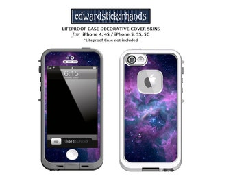 Lifeproof Case Lavender Nebula Decorative Cover Skin Decal for iPhone 4/4S, 5/5S, 5/5S/5E, 5c, 6, 6Plus, 7, 7Plus