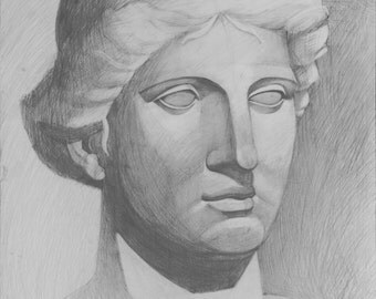Aphrodite greek goddess, original, handmade, academic, drawing, pencil on paper, plaster head, art