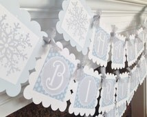 Happy Birthday WinterONEderland Collection  - Grey Snowflake Background with Glittler Embellishments - Party Packs Available