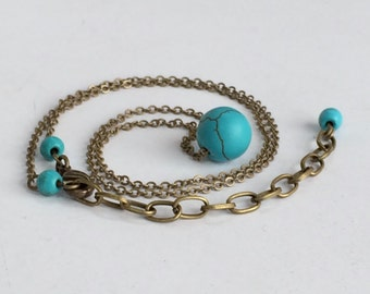 Turquoise Bead Antique Bronze Rustic Necklace, Bridesmaids Gift, Everyday Necklace N112