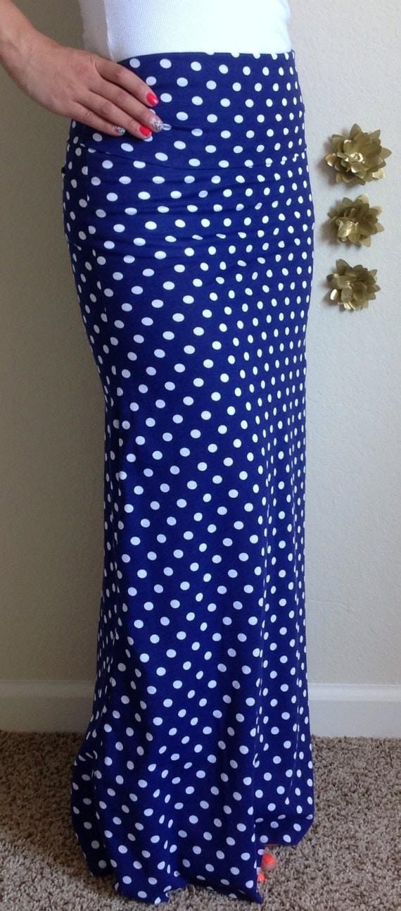 Items Similar To Blue And White Polka Dot Maxi Skirt