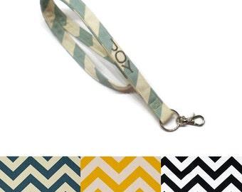Personalized chevron lanyard- CHOOSE your colors, key chain lanyard, ID badge lanyard, under 10 gift . teacher gift idea,personalized gift