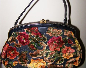 Vintage C. 1960's Flocked Purse by Verdi Made In USA