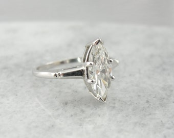 1.55 carat Fine Diamond, 14K White Gold 1950s Marquise Cut Diamond Engagement Ring QC7H4W-N