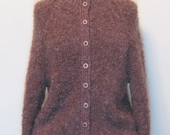 Vintage 1970s Cardigan/Hand Knitted/Brown/Round Buttons/Bouclé Yarn/Fluffy/Round Neckline/Mohair / Black Friday / Cyber Monday