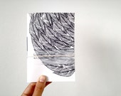 Handmade Pocket Journal with Feathers Print, Hand Printed with Linocut in Black and White