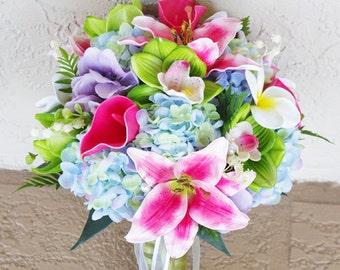 Wedding Green, Fuchsia and Blue Pink Spring Mix Silk Flower Bride Bouquet