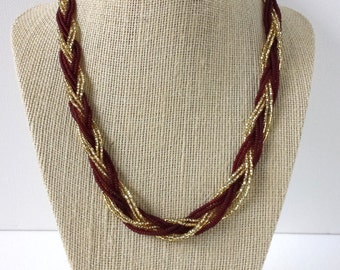 Garnet and gold necklace, maroon necklace, beaded necklace, seed bead necklace, fsu necklace,florida state,braided necklace, braid necklace