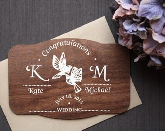 Personalized Wedding Card Congratulations. Wedding Wishes Wood Card.