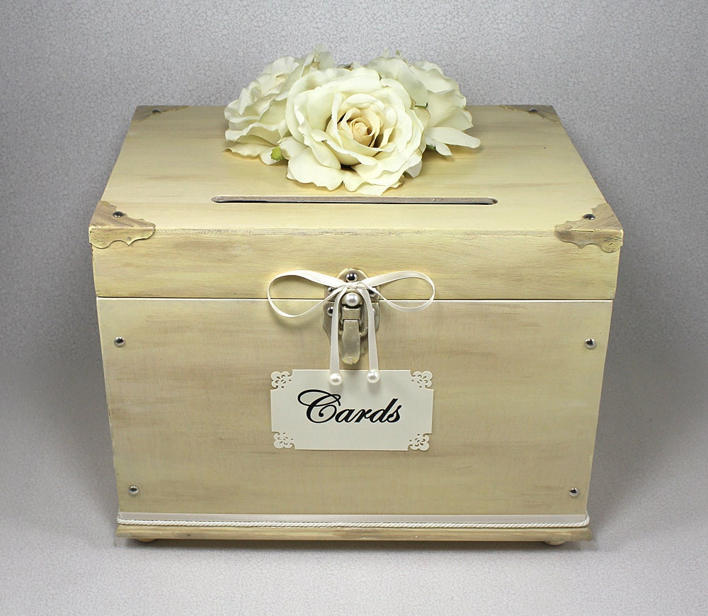 Wooden Wedding Gift Card Box : Ivory Wooden Wedding Card Box Trunk. Vintage Shabby Chic