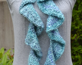 Teal Blue Ruffle Potato Chip Scarf Ready to Ship