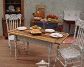 Shabby Country Plank Top Table 1/12 Scale Miniature Dollhouse Furniture