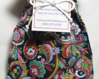 GRATITUDE bag - Mulitcolored paisley, lined in red, burgandy drawstring, Contains 36 GRATITUDE cards and a pen