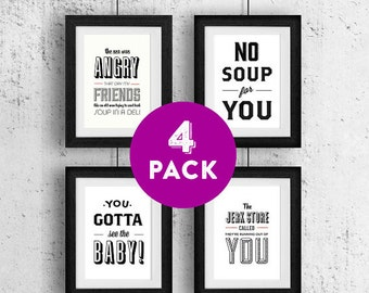 Cyber Monday Type Print, Seinfeld Quotes, Seinfeld Poster, Kramer, 5x7 Art Prints, White, No Soup for You, Jerk Store - Seinfeld 4 Pack