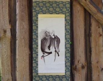 Aikido Original Handmade Painting Japanese Scroll Ueshiba Martial Arts Master Unique Painting Art