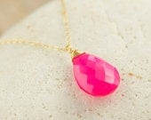 RESERVED - Chalcedony Necklace - Pink Gemstone Necklace - Gold Necklace - Neon Pink Necklace - Gifts for Her - Gemstone necklace