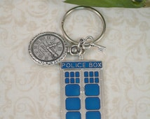 Time Travel Dr. Who Keychain with key