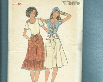 1970's Butterick 4761 Western Ruffle Tier Wrap Skirt & Tee Shirt Size 10  UNCUT