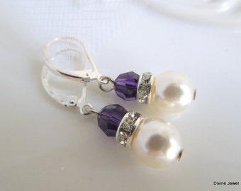 Bridal Earrings,Bridal Pearl Earrings,Ivory or White Pearls,Swarovski Crystal,Purple Crystal,Purple Bridal Earrings,Pearl,Choose your Color